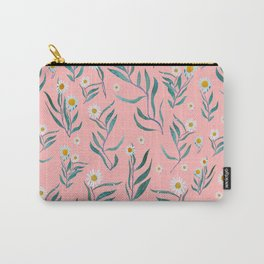 White Flowers on Pink Carry-All Pouch