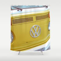vw bus Shower Curtains featuring Yellow VW Volkswagen Bus Van by Tay Silvey