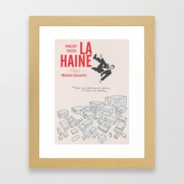 La Haine (Hate) Vincent Cassel, Mathieu Kassovitz, alternative movie poster, banlieue french film Framed Art Print