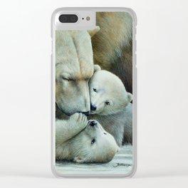 """Nanuk family"" Polar bear by Claude Thivierge Clear iPhone Case"