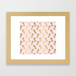 Pink & Gold Pineapples Framed Art Print