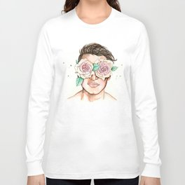 white roses in their eyes Long Sleeve T-shirt