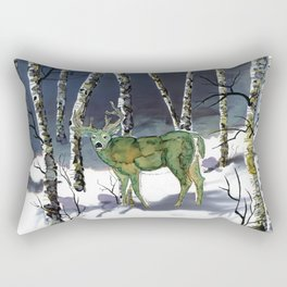 Winter deer - alcohol ink Rectangular Pillow