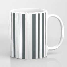 PPG Night Watch Pewter Green & White Wide & Narrow Vertical Lines Stripe Pattern Coffee Mug