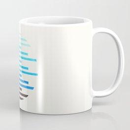 mid century modern minimalist circle round photo cerulean blue staggered stripe pattern Coffee Mug