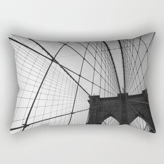 Brooklyn Bridge Black and White Rectangular Pillow