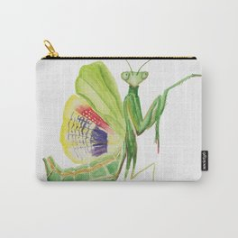 Green Mantis Watercolor Painting Carry-All Pouch