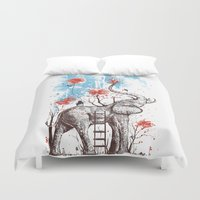 grey Duvet Covers featuring A Happy Place by Norman Duenas