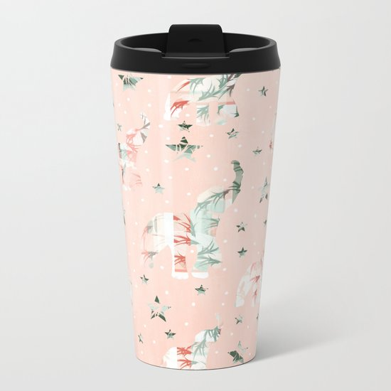 Pastel Tone Elephants Stars Pattern Metal Travel Mug