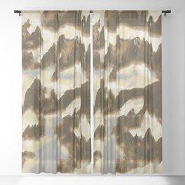 mountains ocean clouds Sheer Curtain