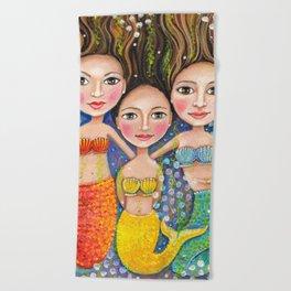 Mermaid sisters by Robynne Beach Towel