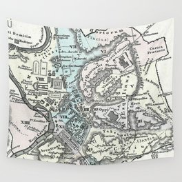 Vintage Map of Rome Italy (1862) Wall Tapestry