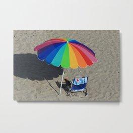 Colorful Beach Umbrella Metal Print