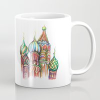 russia Mugs featuring Russia by Lam Designs