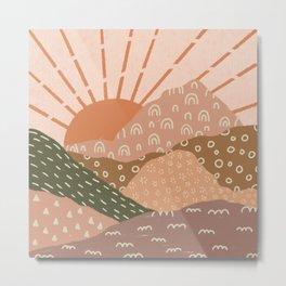 Retro Mountainscape Metal Print
