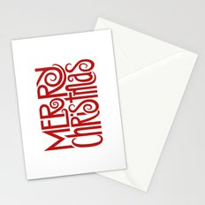 Merry Christmas Text red Stationery Cards