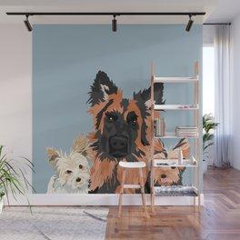 German Shepherd and 2 yorkies Wall Mural