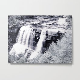 West Virginia Blackwater Falls Black and White Metal Print