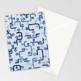 Blue Watercolour Zig Zag Stationery Cards