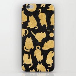 Gold on Black Kitty Pattern iPhone Skin