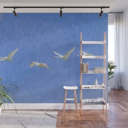 Swans Flying Art Wall Mural