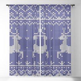Blue Christmas Wool Pattern Sheer Curtain