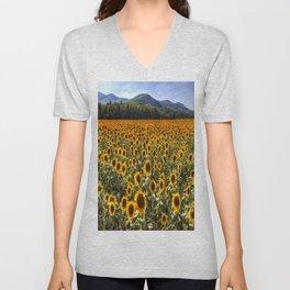 Sunflower Fields Of Dreams Unisex V-Neck