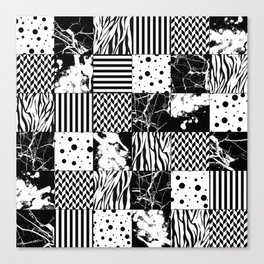 Eclectic Black and White Squares Canvas Print