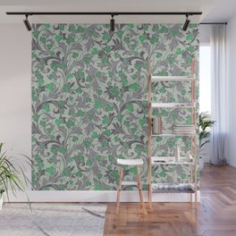 Green ivy with grey ornament on beige background Wall Mural