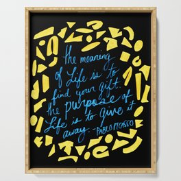 Picasso Quote in Teal and Yellow Serving Tray