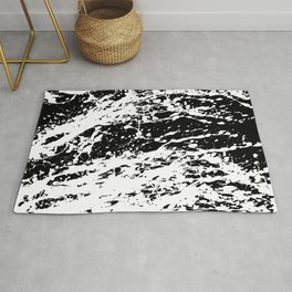 Black and White Paint Splatter Rug