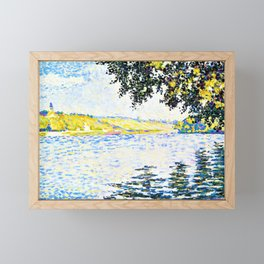Paul Signac - View of the Seine at Herblay - Digital Remastered Edition Framed Mini Art Print