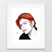 david bowie Framed Art Prints featuring David Bowie by Joseph Walrave