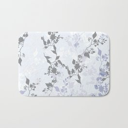 Branches and Leaves in Cobalt Grey and Blue Bath Mat