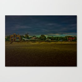 Houses in Front of the Beach Canvas Print