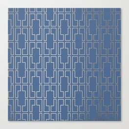 Simply Mid-Century in White Gold Sands and Aegean Blue Canvas Print