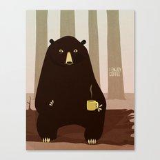 Bear Enjoys Coffee Canvas Print