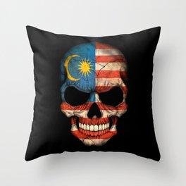Dark Skull with Flag of Malaysia Throw Pillow
