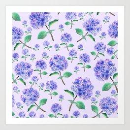 purple blue hydrangea in purple background Art Print