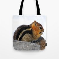 furry Tote Bags featuring Furry Friend by Teresa Chipperfield Studios