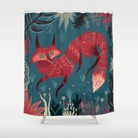 winter Shower Curtains featuring F O X ! by Karl James Mountford