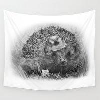 hedgehog Wall Tapestries featuring Hedgehog by MARIA BOZINA - PRINT