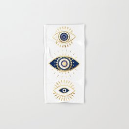 evil eye times 3 navy on white Hand & Bath Towel
