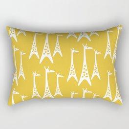 Mid Century Modern Giraffe Pattern 221 Mustard Yellow Rectangular Pillow
