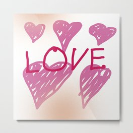 Love with pink hearts Metal Print