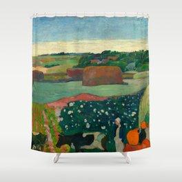 """Paul Gauguin """"Les meules ou Le Champ de pommes de terre or Haystacks in Brettany"""" Shower Curtain"""