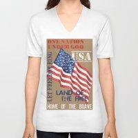 patriotic V-neck T-shirts featuring Patriotic Text by Debbie DeWitt