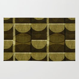 """Retro Olive green Chained Circles"" Rug"