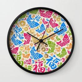 Chinese Lucky Symbols Pattern #1 Wall Clock