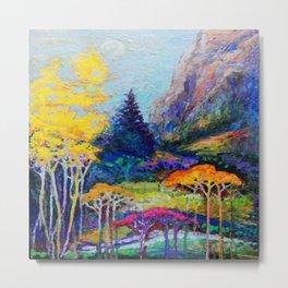 Mountain Aspen Trees  Landscape Metal Print